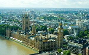 Фотографии Великобритания Англия Биг-Бен Лондоне Сверху Westminster Palace Города