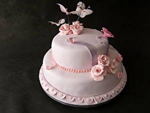 Картинки Сладкая еда Торты Розы Розовый