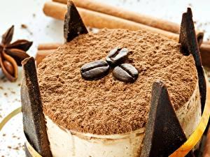 Картинка Сладости Торты Кофе Вблизи Зерна