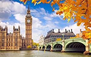 Картинки Англия Осень Мосты Реки Лондон Биг-Бен Лист Клёна Thames город