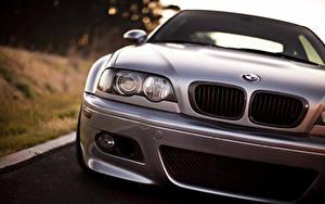 Фото BMW Серебристая Спереди Фары M3 автомобиль