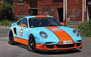 Фотографии Порше Голубая Спереди 2013 Porsche 911 Turbo Cam Shaft машина