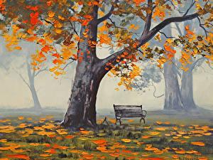 Обои Живопись Осенние Деревьев Скамья ARTSAUS
