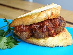Картинки Фастфуд Гамбургер Хлеб Кетчупа