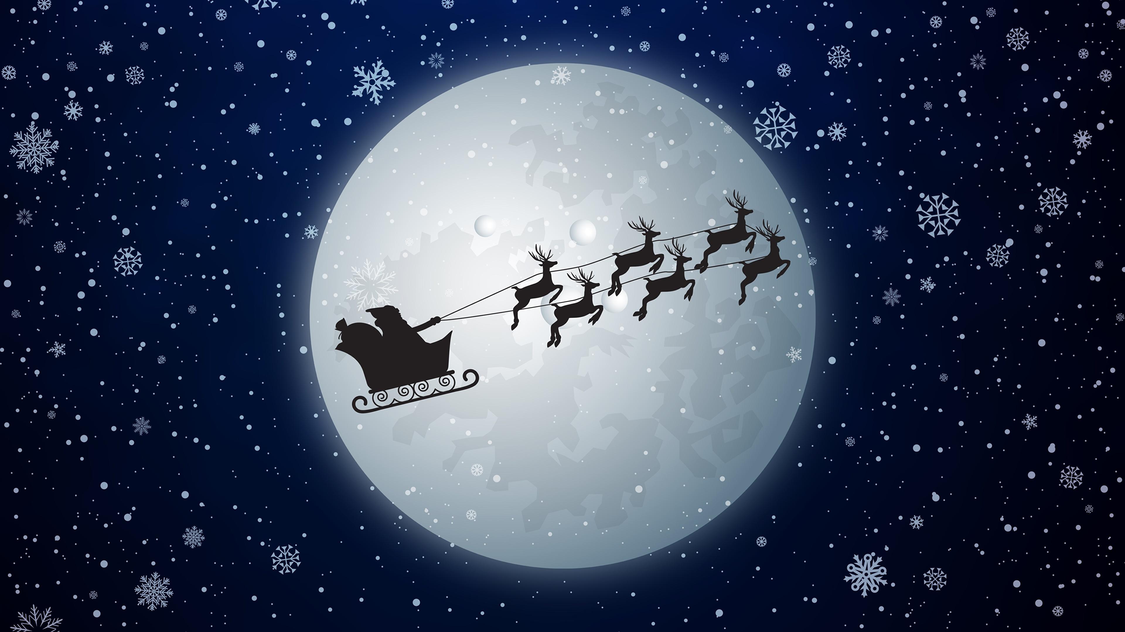 Картинка Олени Рождество Сани силуэта снежинка Дед Мороз Луна Ночные летящий 3840x2160 Новый год Санки Силуэт силуэты Снежинки Санта-Клаус луны луной Ночь ночью летят Полет летит в ночи