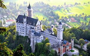 Фото Германия Замки Нойшванштайн Сверху Бавария город