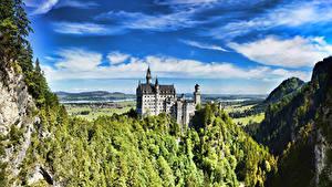 Фотография Замки Германия Лето Небо Нойшванштайн Бавария