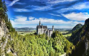 Фотография Замки Германия Лето Небо Нойшванштайн Бавария Города