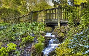 Обои для рабочего стола Парк Англия Лондон Забором Ручей Golders Hill Природа