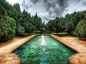 Картинка Парки Фонтаны Малайзия HDR Melaka Природа