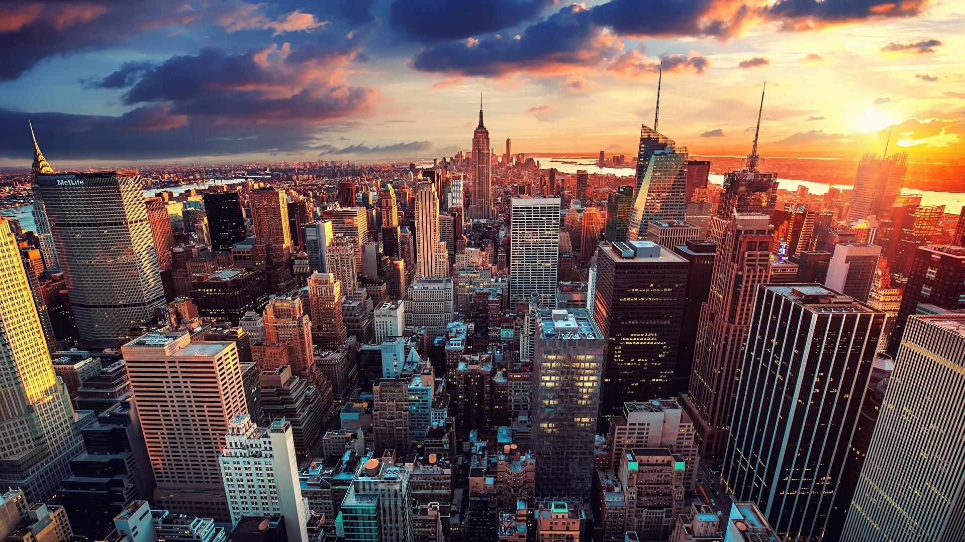 Фотографии Нью-Йорк Манхэттен США Вечер Небоскребы город Здания 1920x1080 штаты америка Дома Города