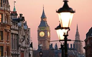Фотография Англия Лондон Уличные фонари Биг-Бен
