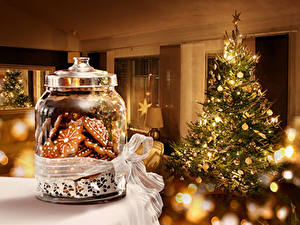 Фотография Праздники Рождество Печенье Елка Банке