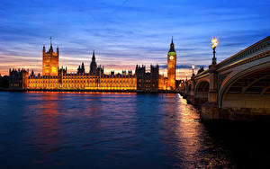 Фото Англия Мосты Реки Лондоне Биг-Бен Thames город