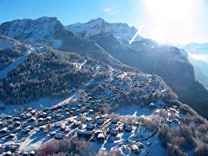 Фото Франция Горы Зима Лес Сверху Morillon Города Природа