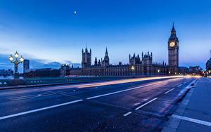Фотография Англия Мосты Дороги Лондон Ночь Биг-Бен