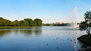 Картинки Польша Парки Фонтаны Вода Poznan Природа
