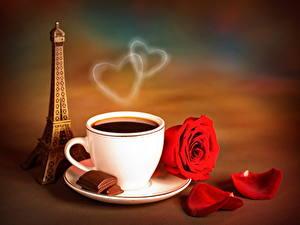 Картинки Напиток Кофе Роза Шоколад Чашке Эйфелева башня Паром Еда Цветы