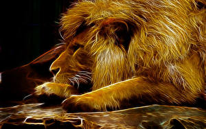 Картинки Большие кошки Львы 3D_Графика