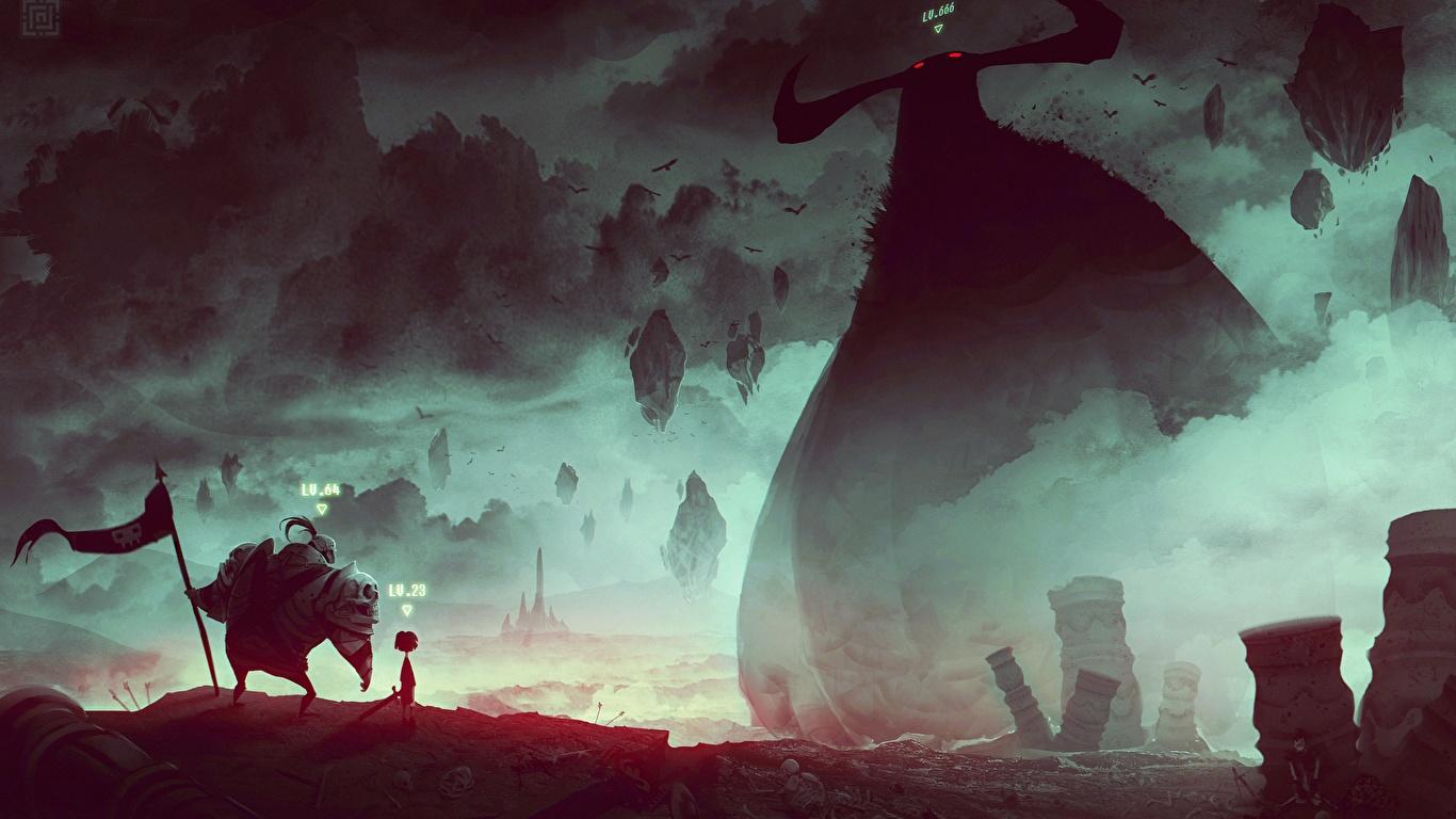 Картинка Монстры воин Фантастика Фантастический мир 1366x768 монстр чудовище воины Воители Фэнтези