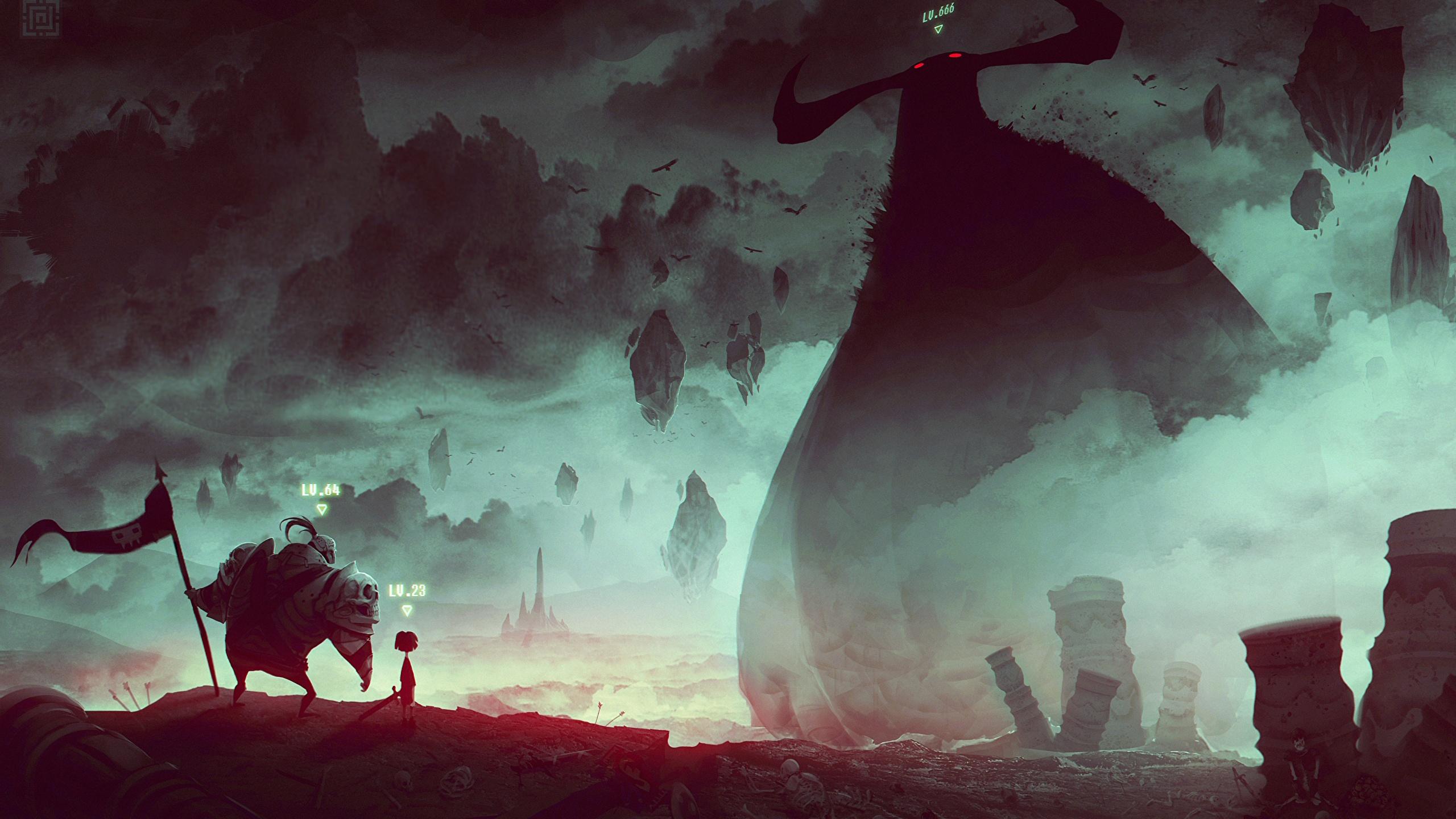 Картинка Монстры воин Фантастика Фантастический мир 2560x1440 монстр чудовище воины Воители Фэнтези