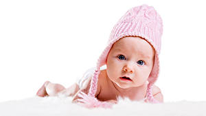 Фотография Младенцы Шапки Взгляд Ребёнок