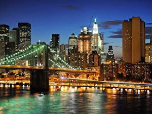 Фотографии США Здания Реки Мост Нью-Йорк Мегаполиса Ночные Города