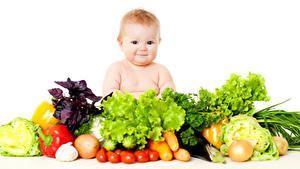 Картинка Овощи Томаты Перец Огурцы Лук репчатый Капуста Младенцы Дети