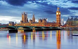 Фото Великобритания Реки Мосты Дома Небо Лондон Биг-Бен