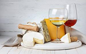 Фото Напитки Вино Сыры Бокалы Продукты питания