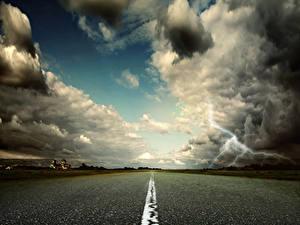 Фото Дороги Небо Облака Молния Асфальт Природа