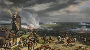 Обои Живопись Война Мельница Emile-Jean-Horace Vernet, The Battle of Valmy  20 September 1792