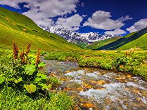 Фото Пейзаж Горы Ручей Трава Облачно Природа