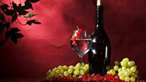 Обои Напиток Вино Виноград Смородина Бутылка Бокалы