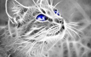 Картинки Кошки Взгляд Морды 3D Графика Животные