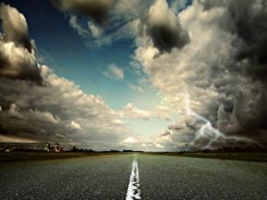 Фотография Дороги Небо Облака Молния Асфальт Природа