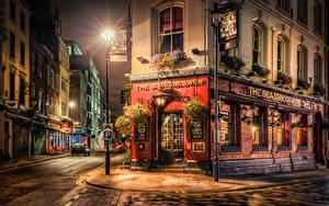 Обои Англия Здания Лондоне Улице В ночи Уличные фонари