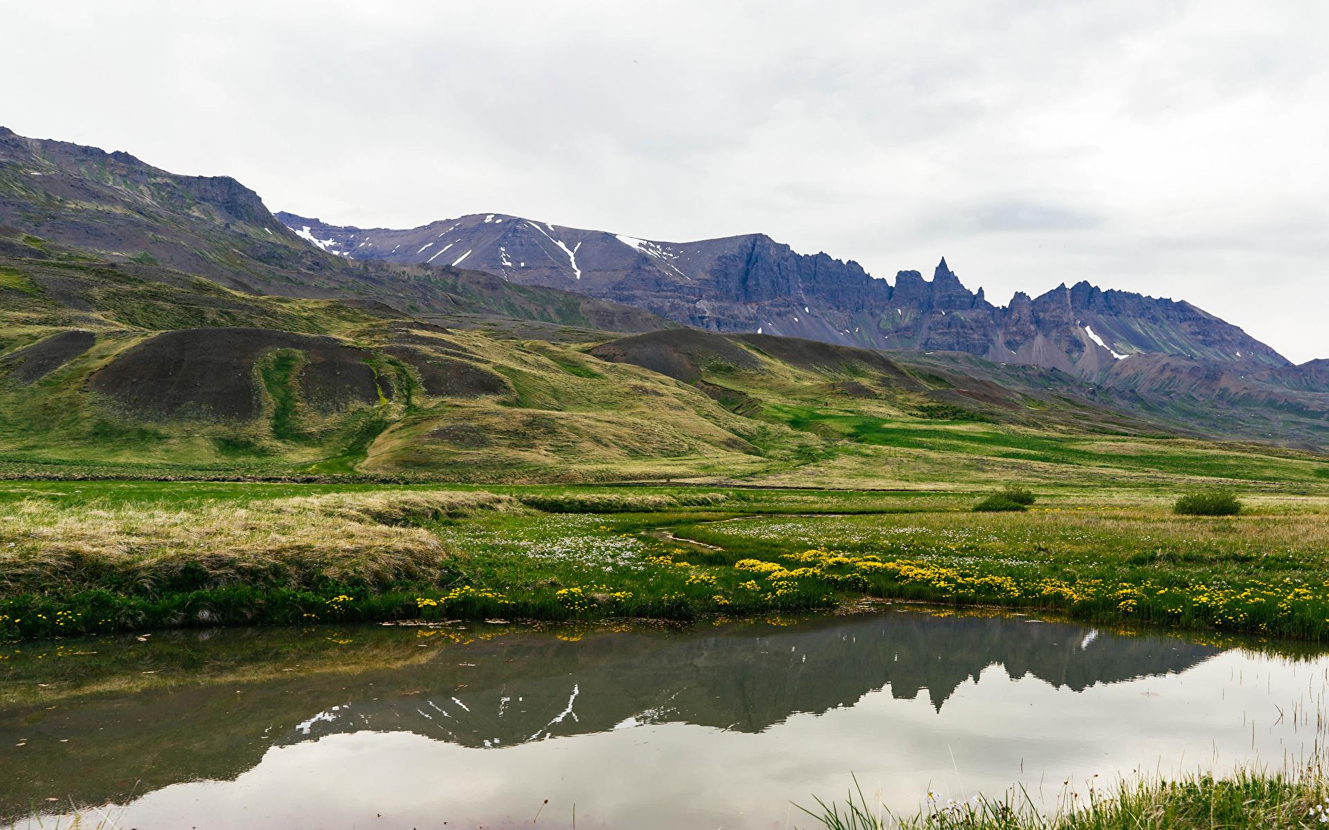 Фотография Исландия Snaefellsnesog Hnappadalssysla гора Природа Озеро Холмы Мох 1920x1200 Горы холм холмов мха мхом