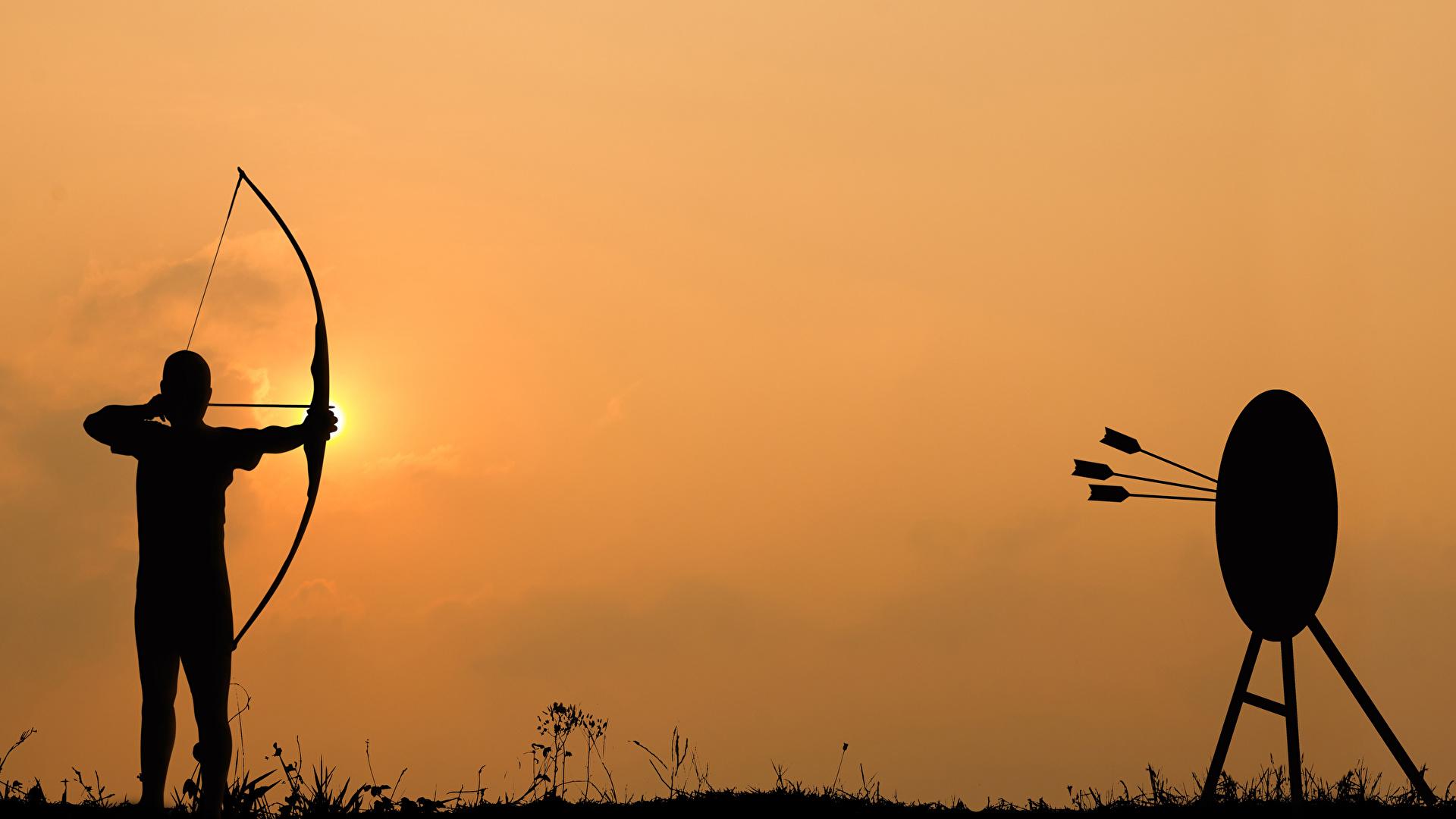 Фото Лучники Стрела Мишень Силуэт 1920x1080 цель стрелы силуэты силуэта