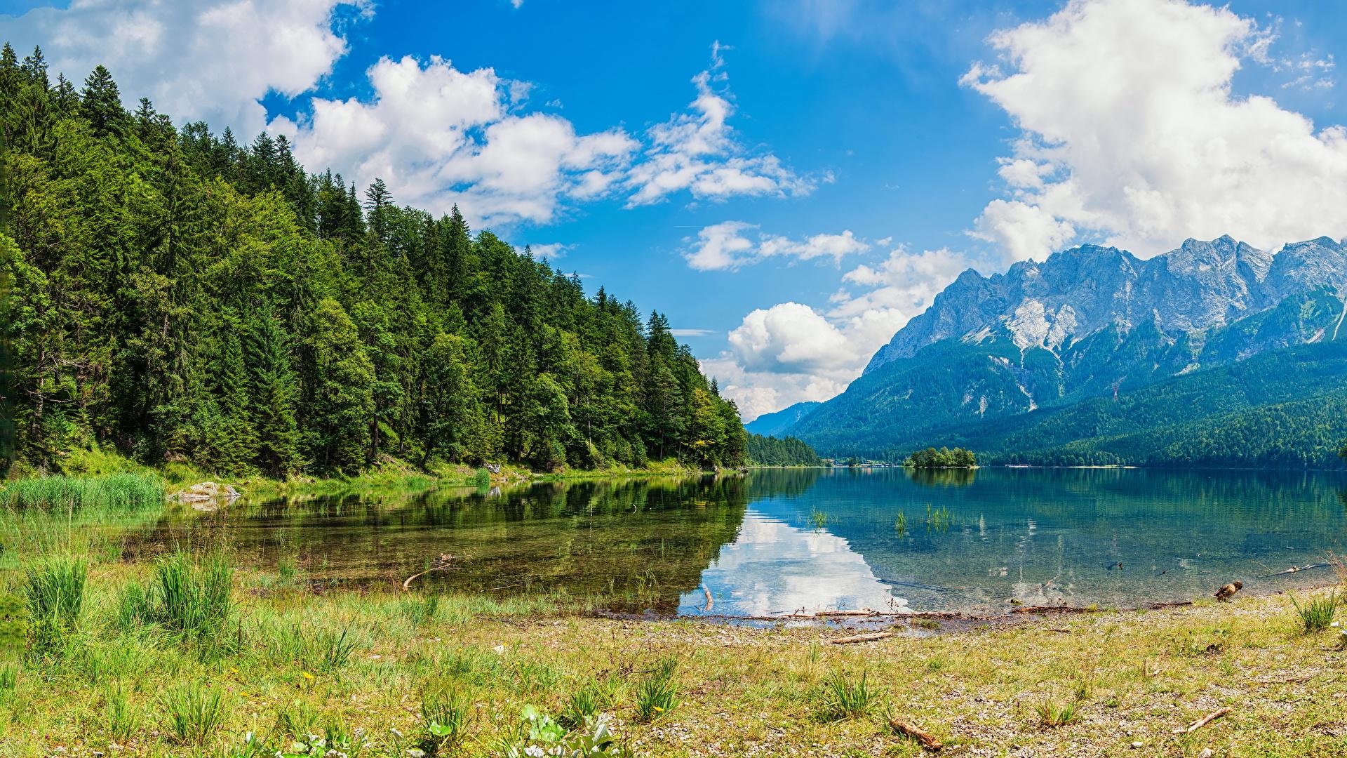 Картинки Альпы Швейцария Wasserauen гора Природа лес Озеро 1920x1080 альп Горы Леса