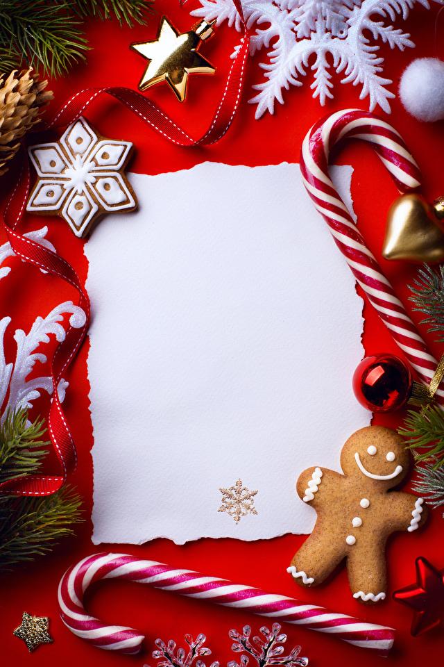Фото Новый год снежинка Печенье Продукты питания Шаблон поздравительной открытки Сладости Дизайн 640x960 Рождество Снежинки Еда Пища дизайна