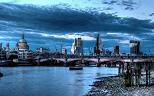 Фото Англия Дома Реки Мосты Небо HDRI Лондоне Облачно