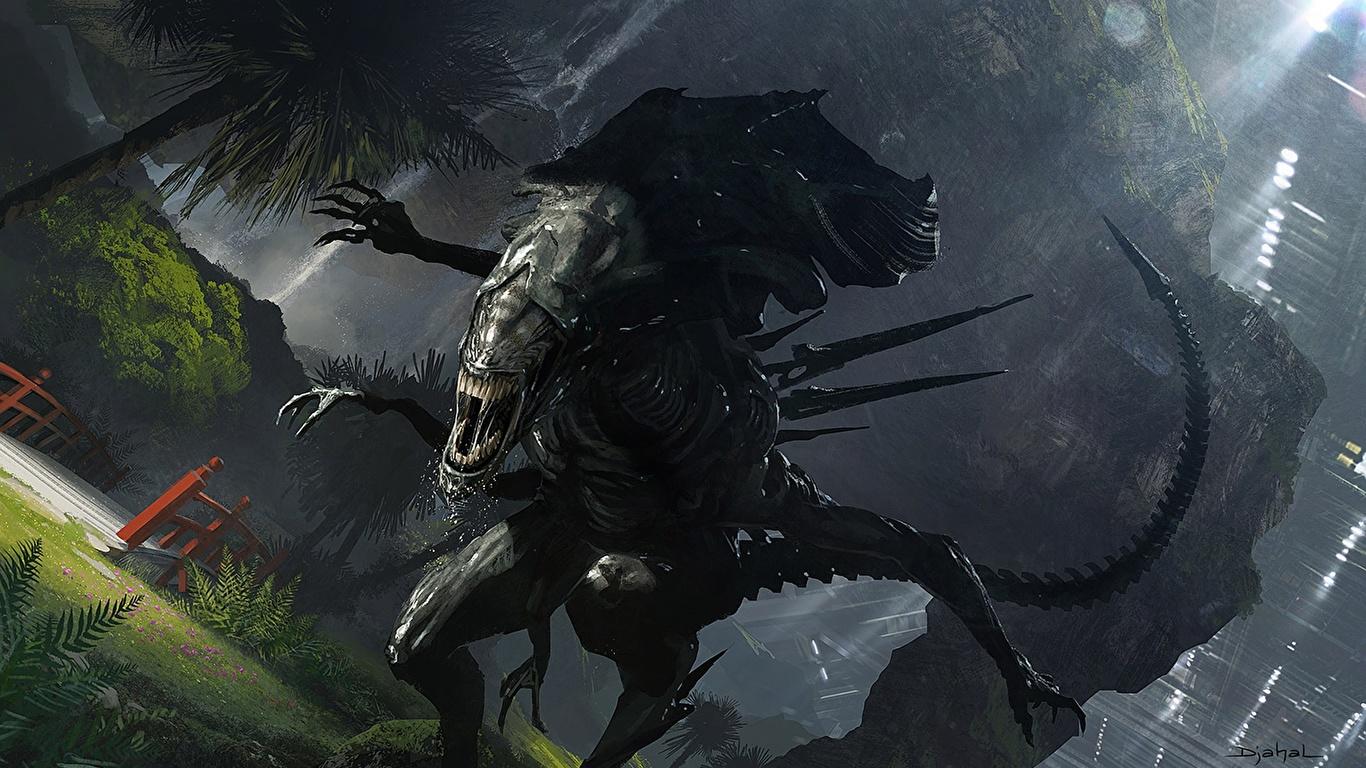 Картинка Чужой чудовище Фэнтези 1366x768 монстр Монстры Фантастика