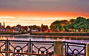 Картинки Здания Река Рассветы и закаты Великобритания HDRI Лондоне