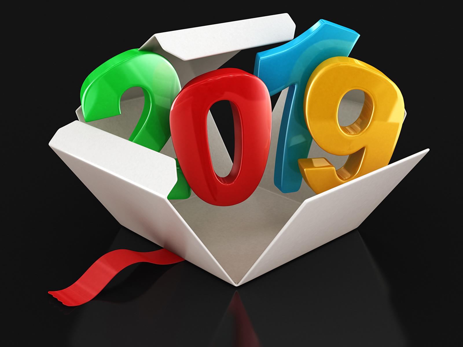 Фотография 2019 Новый год Черный фон 1600x1200 Рождество на черном фоне