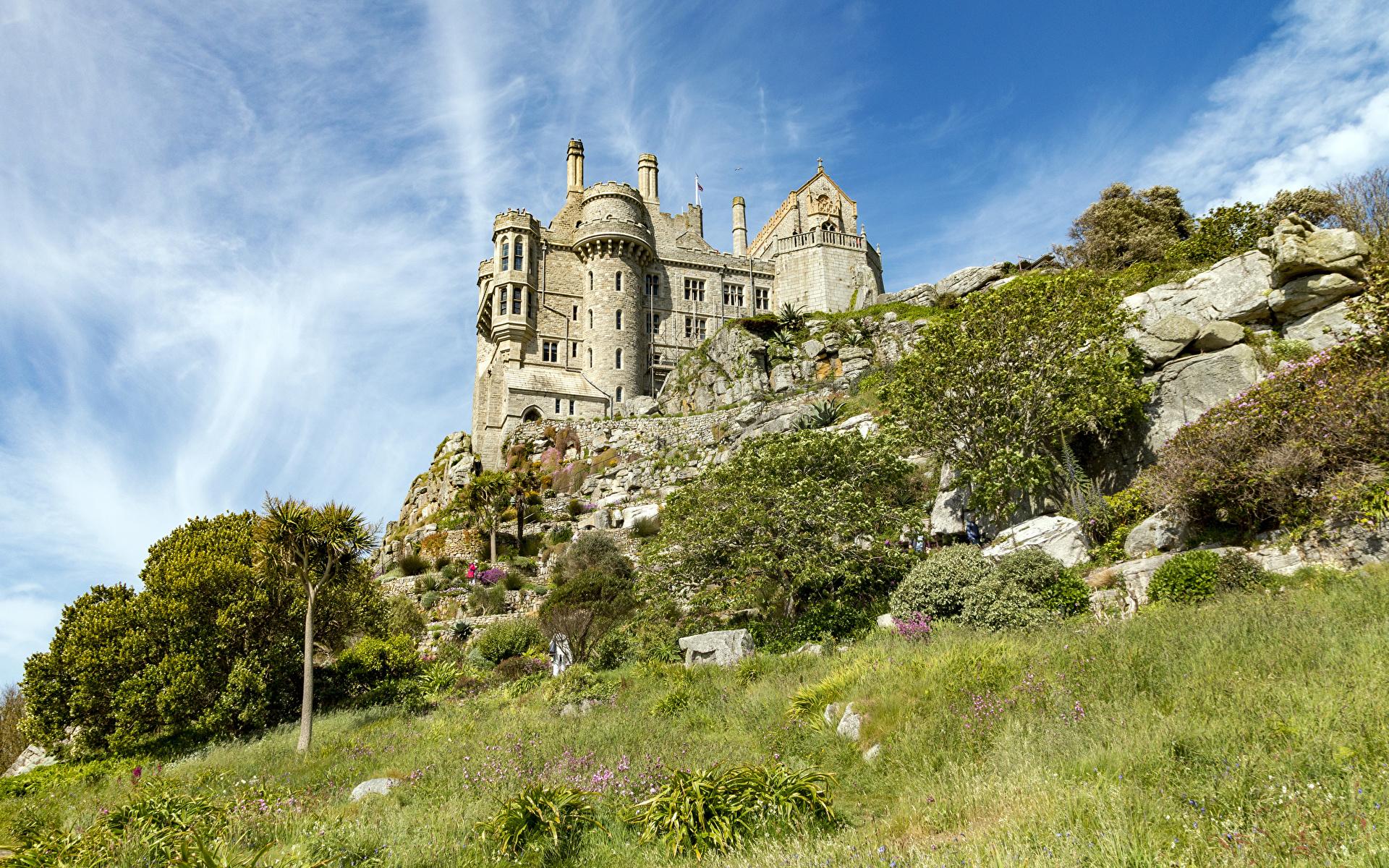Обои для рабочего стола Франция St Michael's Mount Замки траве город 1920x1200 замок Трава Города