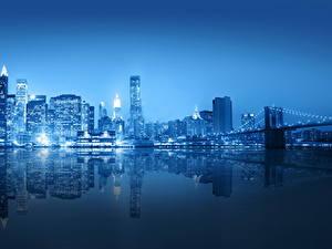Картинки Америка Небоскребы Реки Мост Нью-Йорк В ночи город