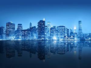 Фотографии Америка Небоскребы Река Нью-Йорк Ночью Города