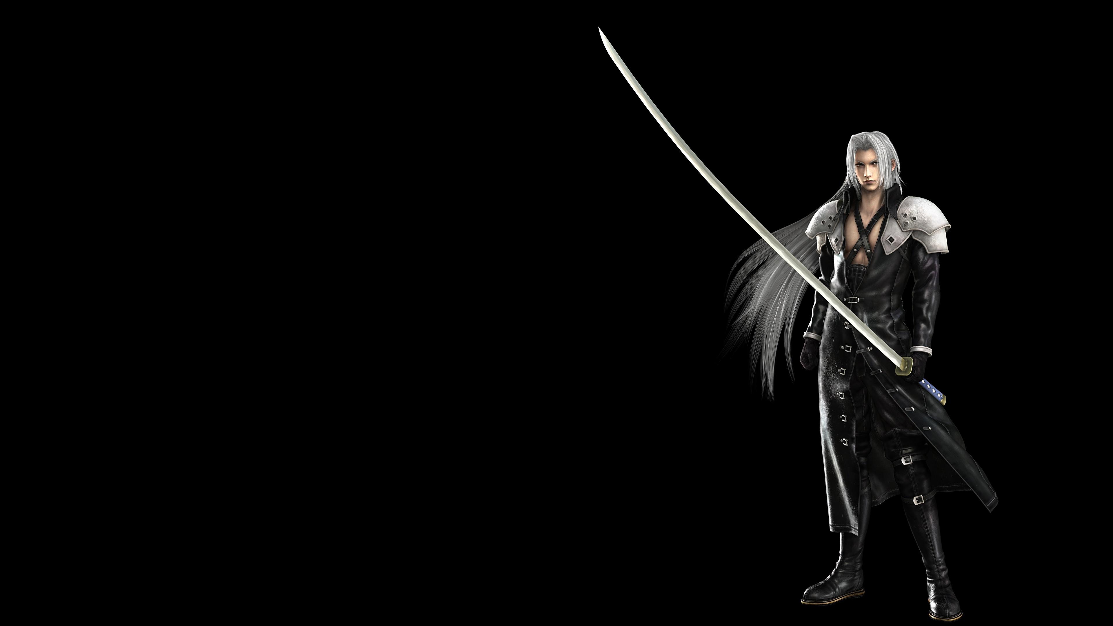 Фото Final Fantasy с саблей Воители Sephiroth 3D Графика компьютерная игра Черный фон 3840x2160 Сабли воин воины 3д Игры на черном фоне