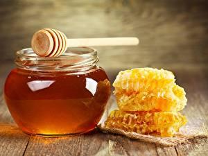 Картинка Мед Пчелиные соты Банка Продукты питания